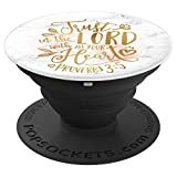 Proverbs 3:5 Christian Bible Verse White Marble Print PopSockets Grip and Stand for Phones and Tablets