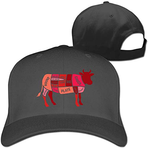 Beef Cattle Cut of Beef Men and Women Baseball Hat Hip Hop Casquette Adjustable,Black,One Size