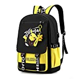 Fashionable Computer School Backpack with USB Port,Travel Business Work Backpack Cartoon Luminous Pattern Pikachu Backpack(yellow)