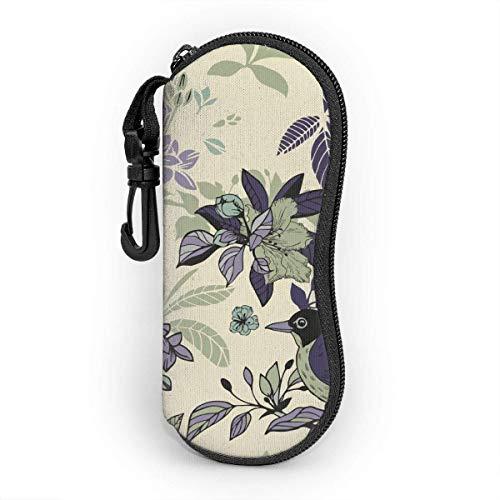AOOEDM Estuche para gafas mosquetón, flores de seda y pájaros, patrón sin costuras, ultraligero, portátil, de neopreno con cremallera, gafas de sol, estuche blando