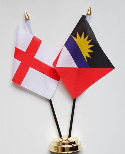1000 Flags Angleterre et l'amitié d'Antigua et Barbuda Drapeau de Table écran 25 cm (25,4 cm) S