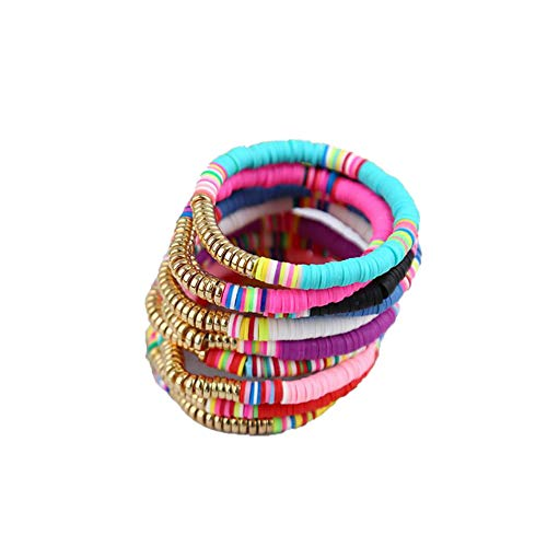 The Woo's 10Pcs Colorful Polymer Clay Bracelets Handmade Rainbow Disc Bead Elastic Rope Stretch Bracelets Boho Beaded Bracelet Set Summer Beach Surf Stackable Jewelry for Women Girl