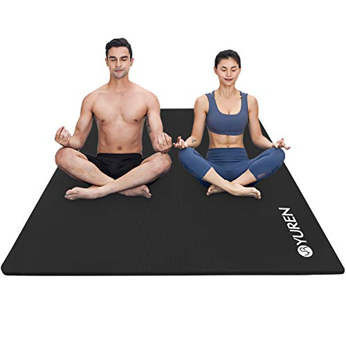 YUREN Yoga Mat Large Exercise Mat 78x51 Extra Thick 2/5 inch High Density Comfortable NBR Foam Mat Workout Fitness Mat for Home Gym Floor Pilates Stretching Black