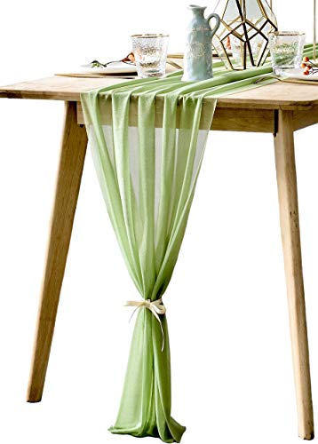 BOXAN Elegant 30x120 Inch Sage Green Sheer Table Runner 10Ft Long Chiffon Overlay for Bohemian Woodland Greenery Wedding Shower Party Decor, Chic Spring Summer Party Saint Patricks Day Supplies