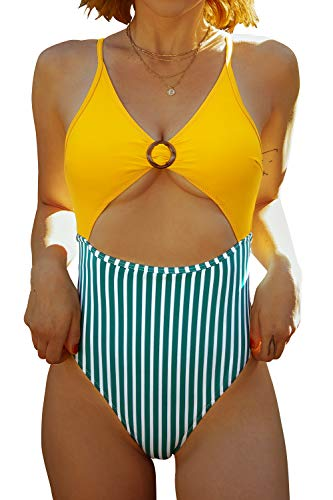 CUPSHE Women's Yellow Striped O Ring Cutout One Piece Swimsuit, L
