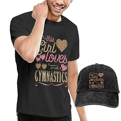 Ovilsm Girl Loves Gymnastics Game T-Shirt Short Sleeve Denim Hat Mens