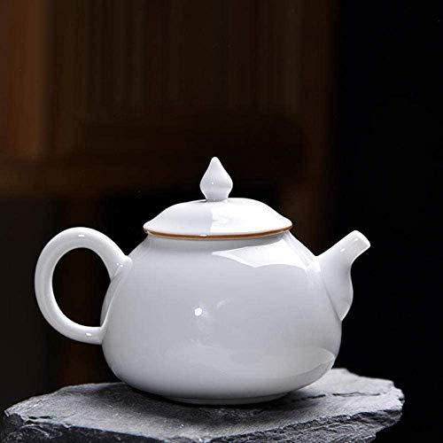 ZQADTU Tetera con colador Tetera de Porcelana Blanca de una Sola Olla Juego de té de de cerámica Tetera de Grasa de Oveja Hecha a Mano para el hogar