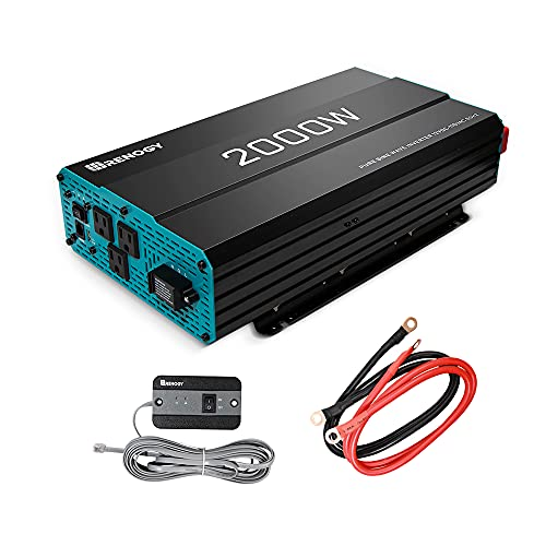 Renogy 2000W Pure Sine Wave Inverter 12V DC to 120V AC Converter for Home, RV, Truck, Off-Grid Solar Power Inverter 12V to 110V with Built-in 5V/2.1A USB Port, AC Hardwire Port, Remote Controller