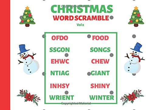 Christmas Word Scramble Vol 2: Large Print Puzzle Book for Holiday Season (Christmas puzzle)
