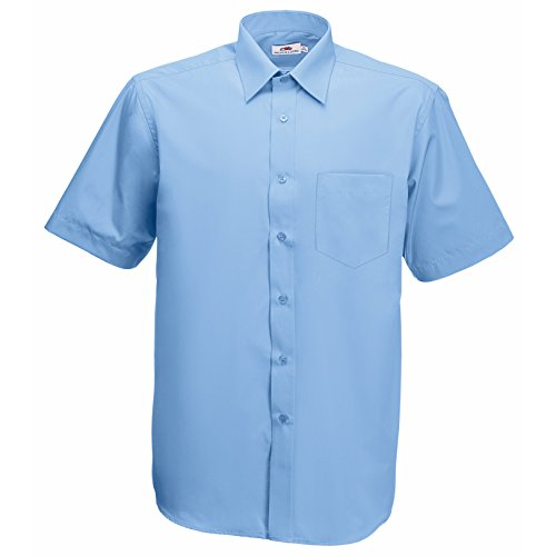 Fruite of the Loom Herren Poplin Kurzarm Business Hemd, vers. Farben XXL,Mittelblau