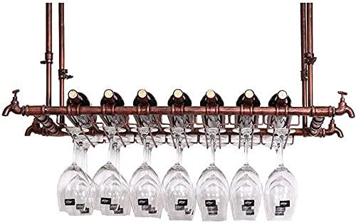 LIZCG Estante para vinos Bar Restaurante Colgante Estante para Copas de Vino Soporte para Botellas de Vino de Techo Copa de Metal Soporte para Copas de Vino Organizador de Copa de Hierro para bron