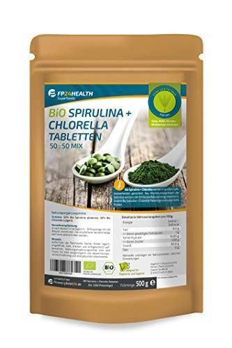 FP24 Health Bio Spirulina + Chlorella Tabletten 500g - 400mg pro Tablette - Plantensis und Vulgaris Algen - im Zippbeutel - Presslinge - Top Qualität