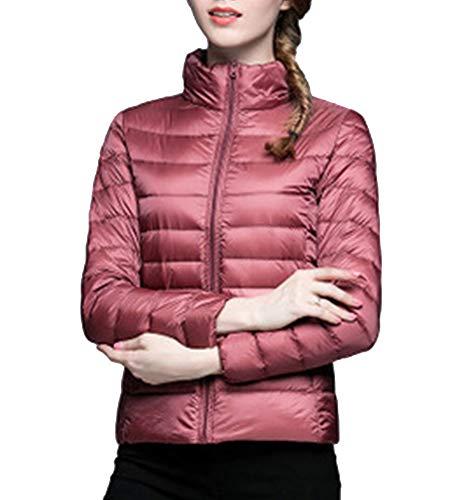 ZiXing Damen Winter Daunenjacke Steppjacke Ultra Light Daunenmantel Kurz Jacke für Outdoor Camping Sport Running M Rosa