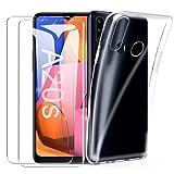 SMYTU Samsung Galaxy A20s Klar Hülle mit Panzerglas,[1 Hülle + 2 Panzerglas] Dünn Schutzhülle Slim Stoßfest Clear Durchsichtige Bumper Cover Handyhülle für Samsung Galaxy A20s - Transparent