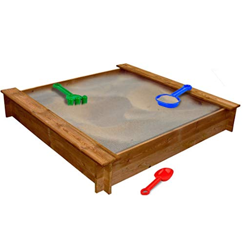 Nishore Sandkasten Sandkiste Quadratisch aus Holz mit Spielplatz 120 x 120 x 20 cm-Geeignet für Kinder ab 3 Jahren.
