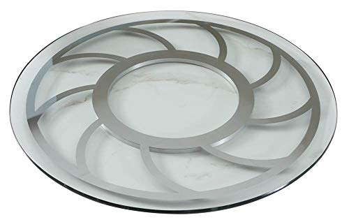 Modern Round Glass Lazy Susan in Clear and Chrome Finish -  Chintaly, GLORIA-LAZY-SUSAN