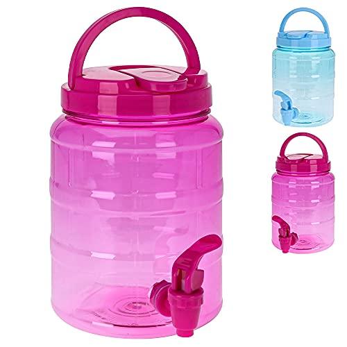 Murago - Getränkespender mit Zapfhahn ca. 2 Liter Pink Wasserspender Saftspender Rosa Kunststoff hervorragend für Kinder Plastik