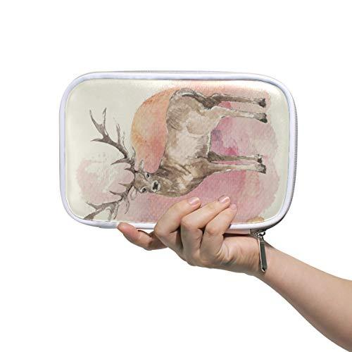 Mr.XZY Bolsa de lápices de reno de acuarela para niño para niña bonito patrón multifunción bolsa de cosméticos portátil con cremallera para estudiante 2011869
