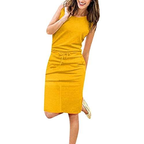 FrauenKleid Causal ärmellose Taschen BleistiftkleidSommer solide Kordelzug Taille Beach Party Sommerkleid