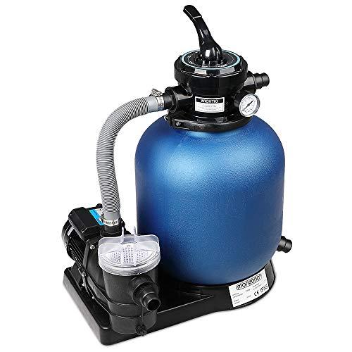 Monzana Sandfilteranlage Filteranlage 11 m³ mit Vorfilter IPX5 4-Wege-Ventil Poolfilter Sandfilter Pool