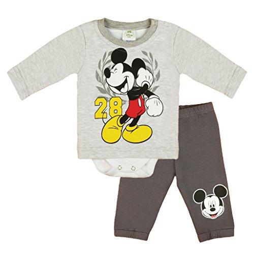 Jungen Baby-Set 2-teilig von Mickey Mouse in GRÖSSE 56, 62, 68, 74, 80, 86 im Lagen-Look, Baby-Schlafanzug mit Druck-Knöpfen, Spiel-Anzug mit T-Shirt-Baby-Body und Langer Hose Size 56