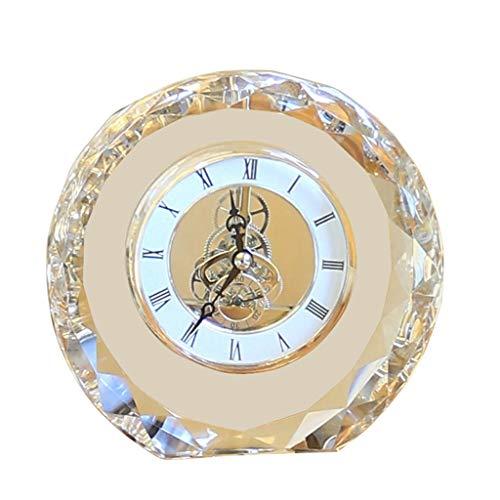 Hong Yi Fei-Shop Elegante Reloj de Mesa Dormitorio Europeo de Noche Creative Crystal Desk Clock Table Reloj Home Sala de Estar Recepción Reloj Reloj de Escritorio