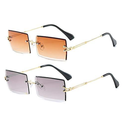 RUNHUIS Gafas de sol rectangulares retro para mujer y hombre, estilo vintage, pequeñas, rectangulares, modernas, cuadradas