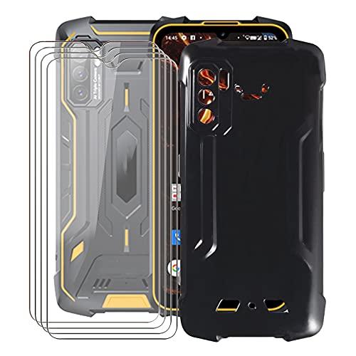 ZXLZKQ Fundas + 4 Piezas Protector Cristal Templado para Cubot King Kong 5 Pro (6.09 Pulgadas), Negro Case Silicona Suave Caso TPU Carcasa,HD Cristal Vidrio Película Protectora - Negro