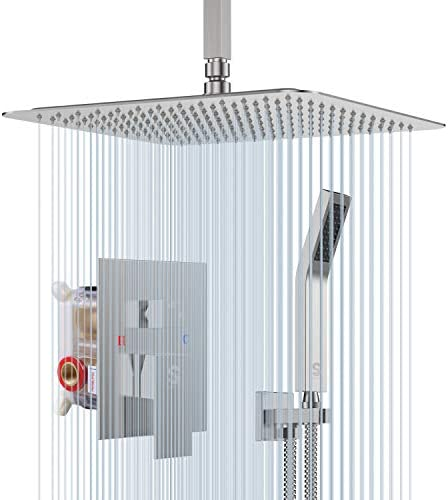SR SUN RISE Brass 10 Inches Ceiling Mounted Shower System Brushed Nickel Bathroom Luxury Rain product image