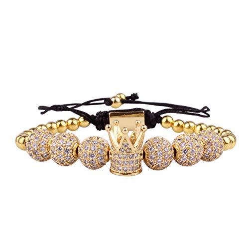 GuDeKe La Corona Imperial Pulseras Trenzadas con 8mm Perlas de circón Joyas de Encanto para Hombres de Mujeres (Oro)
