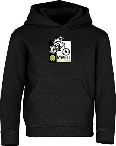 Kinder Pullover: Downhill Madness - Hoodie Kapuzenpullover Pulli Fahrrad Geschenk-e Jungen & Mädchen - Radfahrer-in Mountain Bike MTB BMX Roller Rad Outdoor Junge Kind Sport Trikot Geburtstag (140)