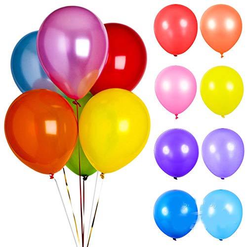 NUANNUAN 200 Piezas Globos Fiesta de cumpleaños Aniversario Boda Navidad Decoracion de Dormitorio 10 Pulgadas Colorida