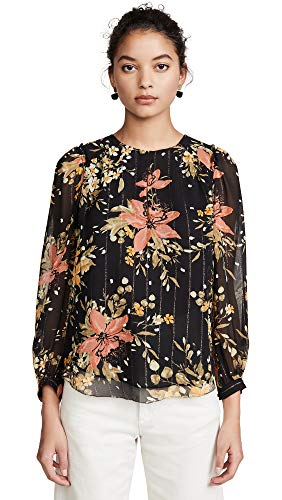 Joie Women's Albany B Top, Caviar, Black, Floral, Small