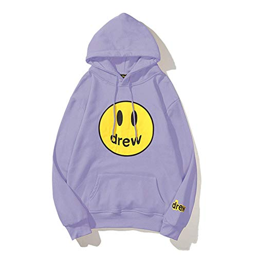 Drew House Hoodie Smiley Face Sweater Bieber Trendy Couples Pullover Hooded for Teens Men Women Youth (Purple,XL)
