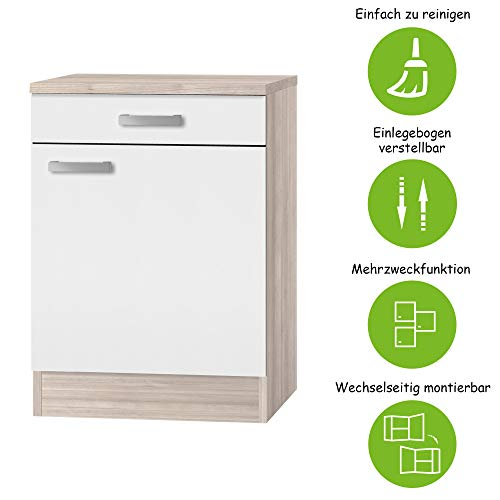 MMR Unterschrank Küche DALLAS, 1-türig, 60 cm breit, wechselseitig montierbare Tür, Weiß/Akazie Dekor