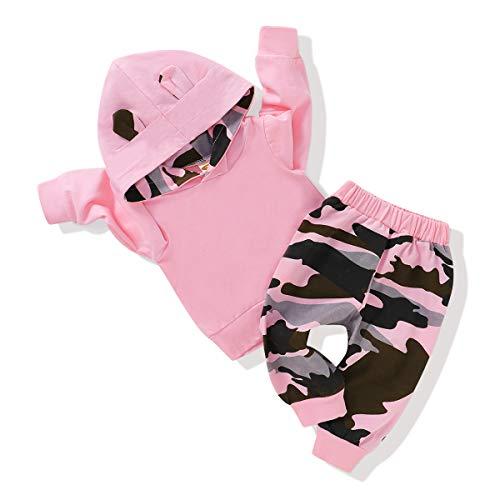 Ropa para bebé recién nacido niña manga larga Hoddie parte superior sudadera con capucha sudadera lindos pantalones de otoño conjunto, Rosado, 6-12 Meses