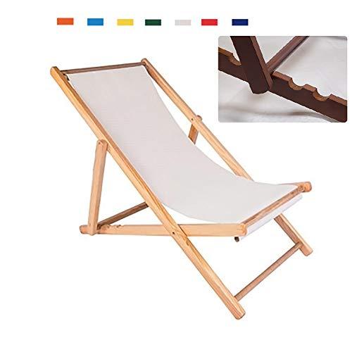 CATLXC Mehrfarbig Verstellbare Strandkörbe Klappbarer Gartenliegestuhl Moderner Stil Outdoor-Reisesitz,Weiß