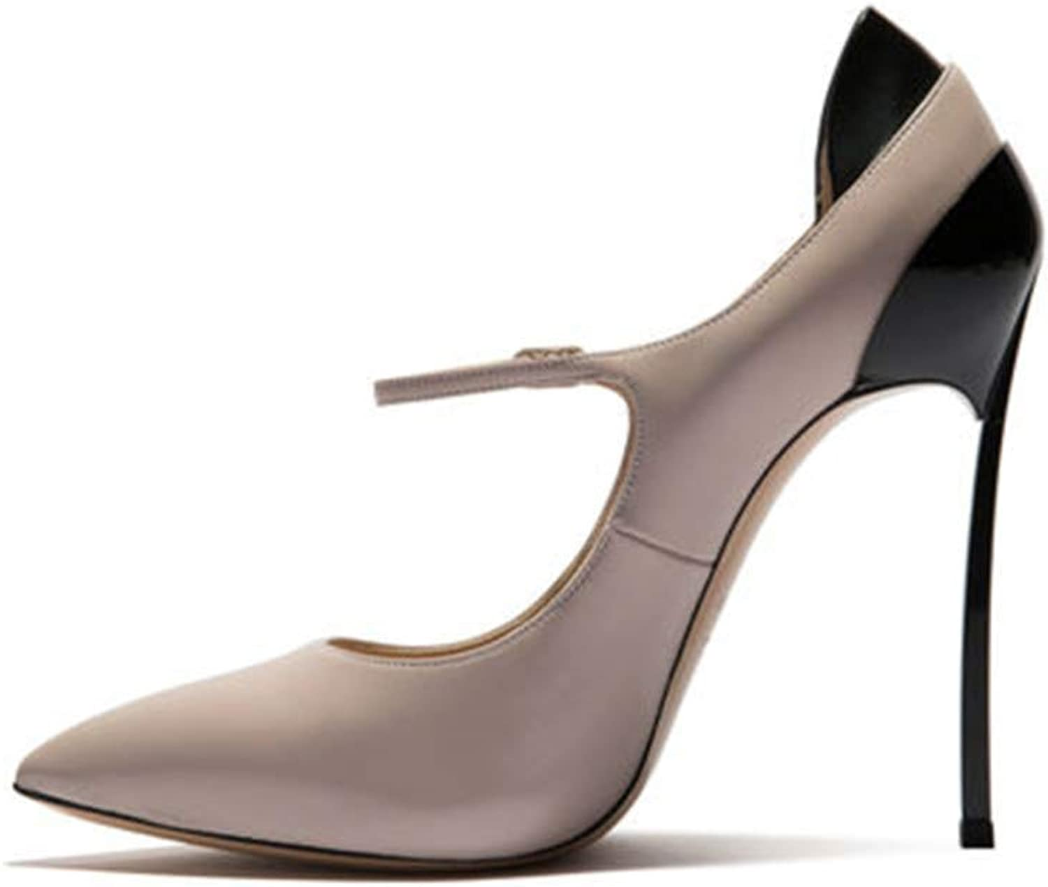 MagicXle Ladies High Heels Rouomo Single sautope Stit ng Pointed Thin Heel classeic