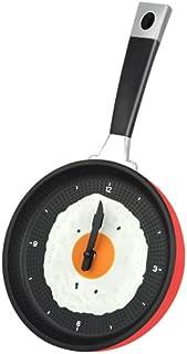 Gleader Sarten Reloj con Huevo Frito - Novedad Hanging Kitchen Cafe reloj de pared de la cocina - Rojo
