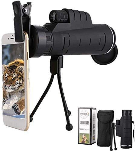 WYDM Monoculares bitonales ultra claros de 16 x 52, con trípode para smartphone, resistente al agua, monocular para observación de aves, viajes, senderismo, camping