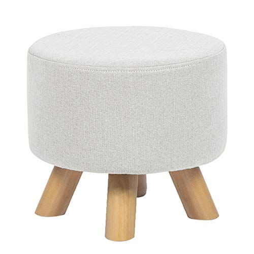 Round Ottoman Foot Rest Stool Linen Fabric Padded Seat Pouf Ottoman with Non-Skid Wooden Legs