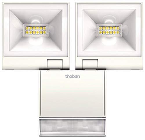 Theben 1020933 theLEDA S20 W WH Doppel-LED-Strahler mit Bewegungsmelder für den Aussenbereich, Flutlicht, Scheinwerfer, schwenkbar, 840 Lumen, 3000 K (2 x 840 Lumen)