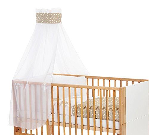 Babybay Ciel de lit pour enfant avec ruban pour application couronne/cœur Sable