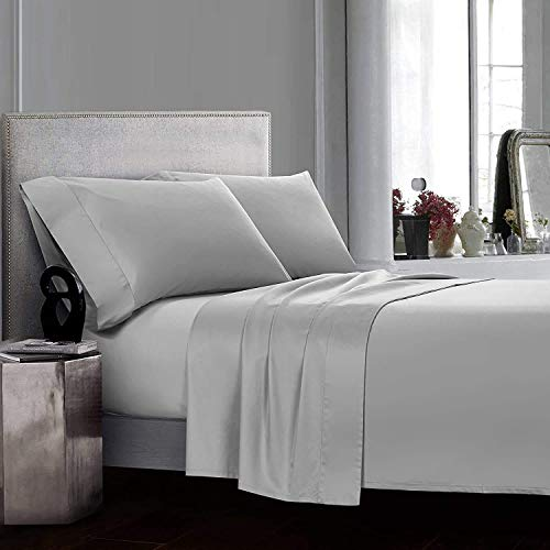 COTTONWALAS Heavy Egyptian Cotton at Affordable Price Full Size 4-PCs Sheets Set (1 Fitted, 1 Flat, 2 Pillowcase) Fits 30-34' Pockets Depth, Real 1500-TC Bed Sheets for Bed (Solid, Silver Grey)