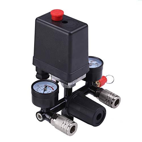 Queiting Kompressordruckschalter Luftkompressordruckventilschalterregler Mit Anzeige Zur Schnellen Druckreduzierung
