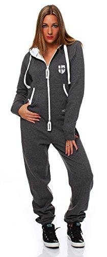 Hoppe Gennadi Damen Jumpsuit Onesie Jogger Einteiler Overall Jogging Anzug Trainingsanzug - Slim FIT,grau,XXXL
