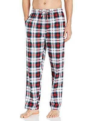 Nautica Men's Cozy Fleece Plaid Pajama Pant, Multi Red, Large from Nautica