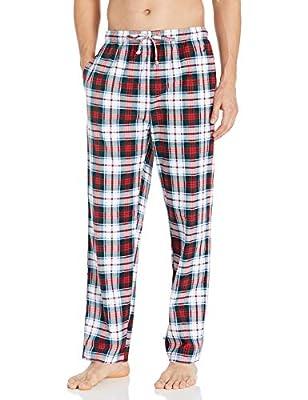 Nautica Men's Cozy Fleece Plaid Pajama Pant, Multi Red, Large from Nautica