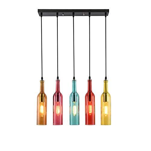 ZHANGYY Vintage Industriell Wind Pendelleuchte ;ngelampe Pendellamp ;ngeleuchter Bunt Glas Wein Flasche Lampenschirm Retro An;nger Leuchter Lampe Kronleuchter,E27 Glhbirne enthalten,Hö