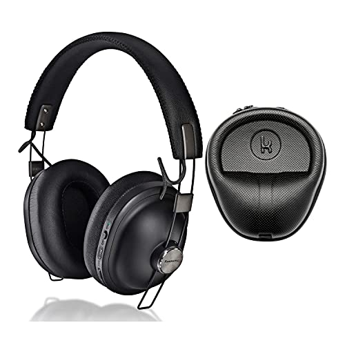 Panasonic RP-HTX90N Noise Canceling Bluetooth Wireless Headphones (Matte Black) with Knox Gear Hard Shell Headphone Case Bundle (2 Items)